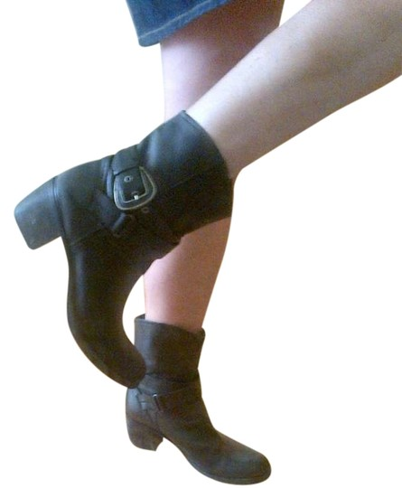 Nine West R-span Leather Buckle Side Cross Strap Si black Boots