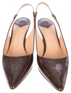 Louis Vuitton Patent Leather Lv Monogram Gold Hardware Pointed Toe Slingback Brown, Gold Pumps