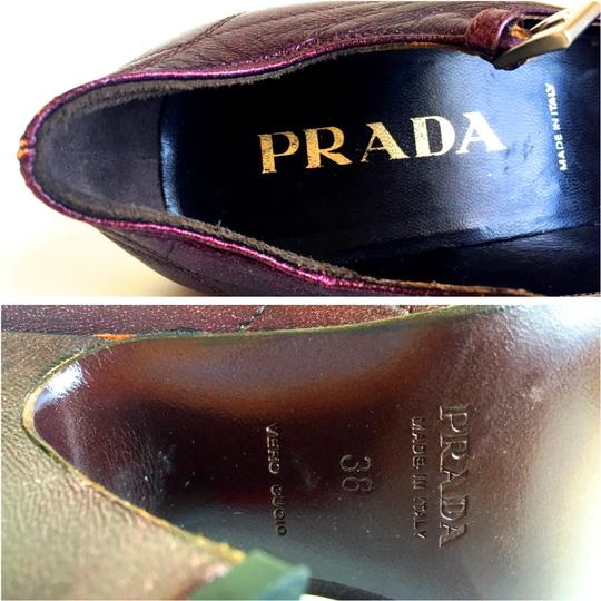 Prada Mary Jane Cap Heels Ankle Straps Strappy D'orsay Plum Pumps