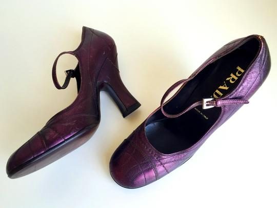 Prada Mary Jane Cap Heels Ankle Straps Strappy D'orsay Purple Pumps
