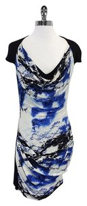 Karen Millen short dress Black & Blue Abstract Print Short Sleeve on Tradesy