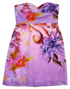 Ali Ro short dress Purple Floral Print Silk on Tradesy