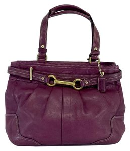 Coach Plum Leather Double Handle Hobo Bag