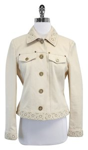 St. John Cream Cotton Floral Crochet Jacket