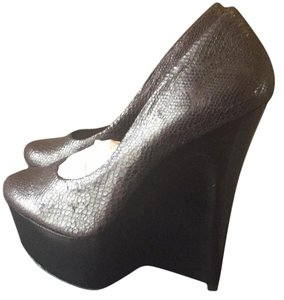 Halston Black snake Wedges