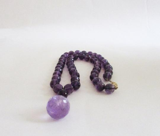 Macy's Fine Jewelry Amethyst Beaded Necklace with Drop/14kt Clasp