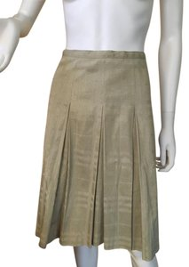 Burberry London Gold Pleated Made In Italy Skirt Gold Beige