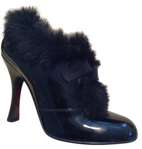 Louis Vuitton Balmoral Fur Bootie Pump Black Boots