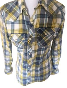 True Religion Button Down Shirt Blue Multi