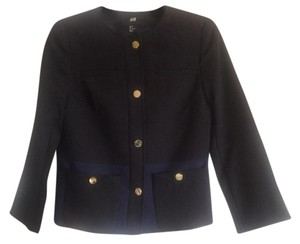 H&M 3/4 Sleeves Textured Color-blocking Black, petrol blue Jacket