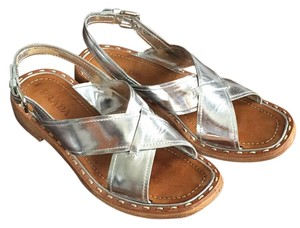 Prada Leather Sandal Silver Sandals