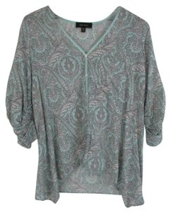 Karen Kane Button Down Top Paisley Blue