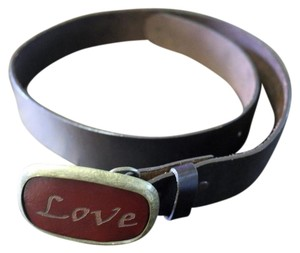 Dillon Rogers Dillon Rogers Leather belt with buckle - Embossed words - Love