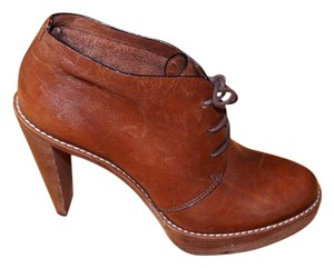 Cole Haan Leather Bootie Stacked Heel Brown Boots