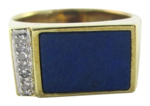 14KT SOLID YELLOW GOLD RING LAPIS LAZULI 4 DIAMONDS SZ 6 FINE JEWELRY RECTANGLE