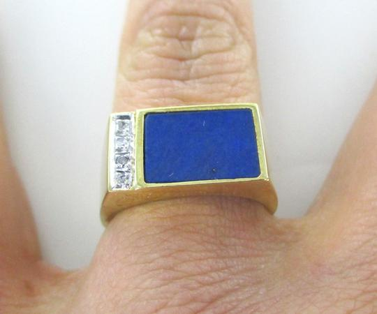 Other 14KT SOLID YELLOW GOLD RING LAPIS LAZULI 4 DIAMONDS SZ 6 FINE JEWELRY RECTANGLE