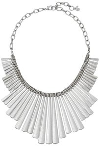 Lucky Brand Necklace Sculptural Paddles Bib Distressed Silver Tone