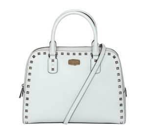Michael Kors Studded Stud Saffiano Satchel in Optic White