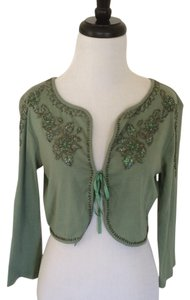 Anthropologie Embellished Shrug Bolero Moss Green and Beaded Jacket