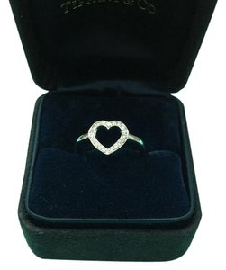 Tiffany & Co. Tiffany & Co. DIAMOND Open Heart Platinum RING, SIZE 4