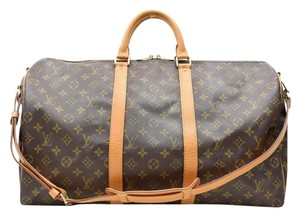 Louis Vuitton Bandouliere Travel Monogram Canvas Keepall Travel Bag