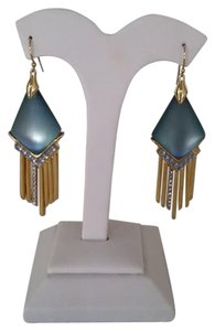 Alexis Bittar Montana Blue Lucite Crystal Fringe Chevron Drop Dangle Earrings