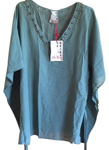 Da-Nang Silk Decorative Neck Green Top