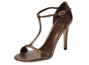 Stuart Weitzman Brass T-strap Brown Bronze Sandals