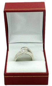 Rope Link 14k White Gold 0.3ct Diamonds Ring, 7.0 grams, Size 7