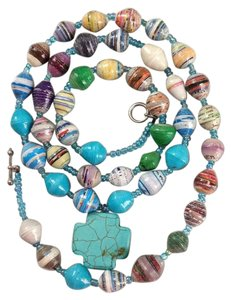 Ten thousand villages Recycled paper and turquoise cross necklace