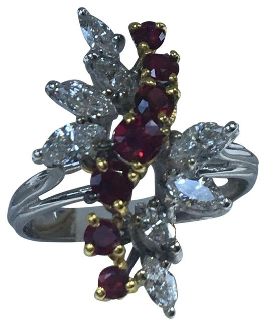Item - 18kt White and Yellow Gold Vintage Ruby Diamond Cocktail Ring