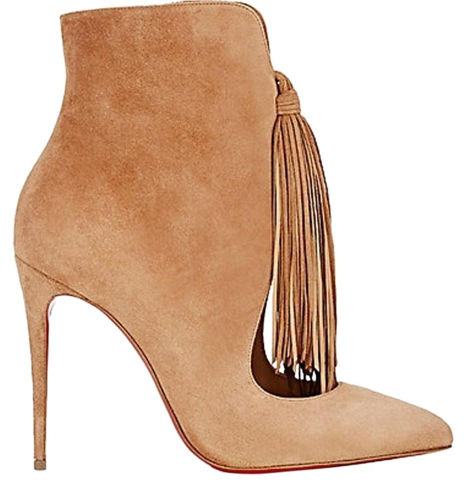 Christian Louboutin Tan Ottocarl Fringed Ottocarl Tan Ankle Boots/Booties 8e2584