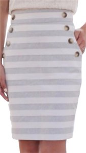 Ann Taylor LOFT Pencil Skirt Grey and white stripe
