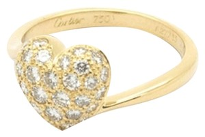 Cartier Authentic Cartier Heart Pave Diamond Ring in 18K Yellow Gold, Size 6