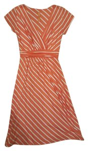 Modcloth short dress Coral and white stripe on Tradesy