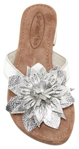 Sheridan Mia Leather Flower Flats Silver Sandals