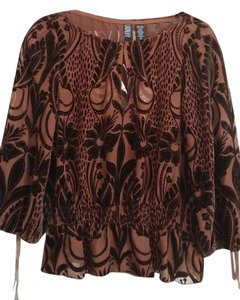 Laundry by Shelli Segal Burnout Velvet Top chocolate brown