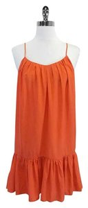 Joie short dress Orange Silk Ruffle Spaghetti Strap on Tradesy