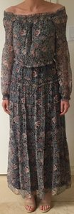 Tribal print blue and pink Maxi Dress by Juicy Couture Bohemian Boho Long Sleeve