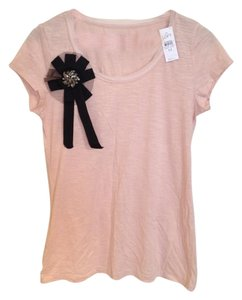 Ann Taylor LOFT Beaded Embellished Sparkle T Shirt Light Pink