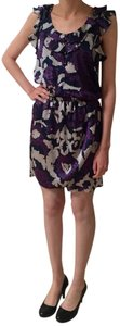 Aqua short dress Purple and Blue Floral Print Bloomingdales Ruffles on Tradesy