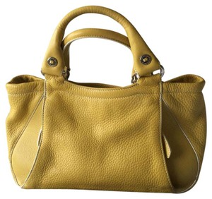 Cole Haan Sage Green Deep Yellow White Trim Soft Leather Satchel in Mustard
