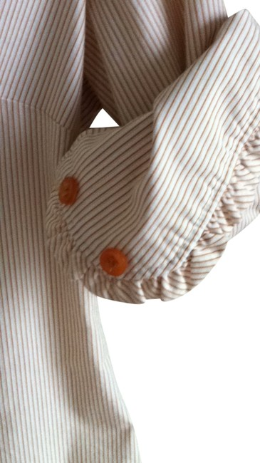 New York & Company Button Down Shirt Orange and White pinstripe