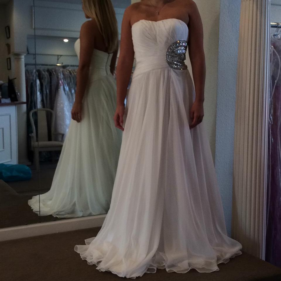 Sherri hill white chiffon casual wedding dress size 6 s for Wedding dress sherri hill