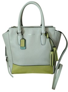 Coach Mini Tanner Leather 48894 Satchel in Yellow White Multi