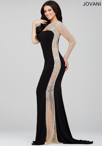 Jovani Long Sleeve Prom Pageant Vintage Look High Neck Dress