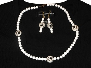 BOGO FREE - Vintage 70's or 80's Yin Yang Handmade set Beaded Necklace and earrings Glass Yin Yang beads with White Plastic beads