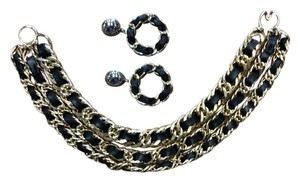 Thick Gold Chain Link Necklace With Intertwined Black Leather Strips & Matching Earrings.
