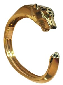 Cartier Panthere De Cartier 18KT Yellow Gold Lacquer Tsavorite Onyx Bangle Bracelet