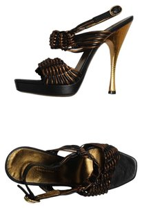 Donna Karan Platform Bronze/black Metallics Sandals